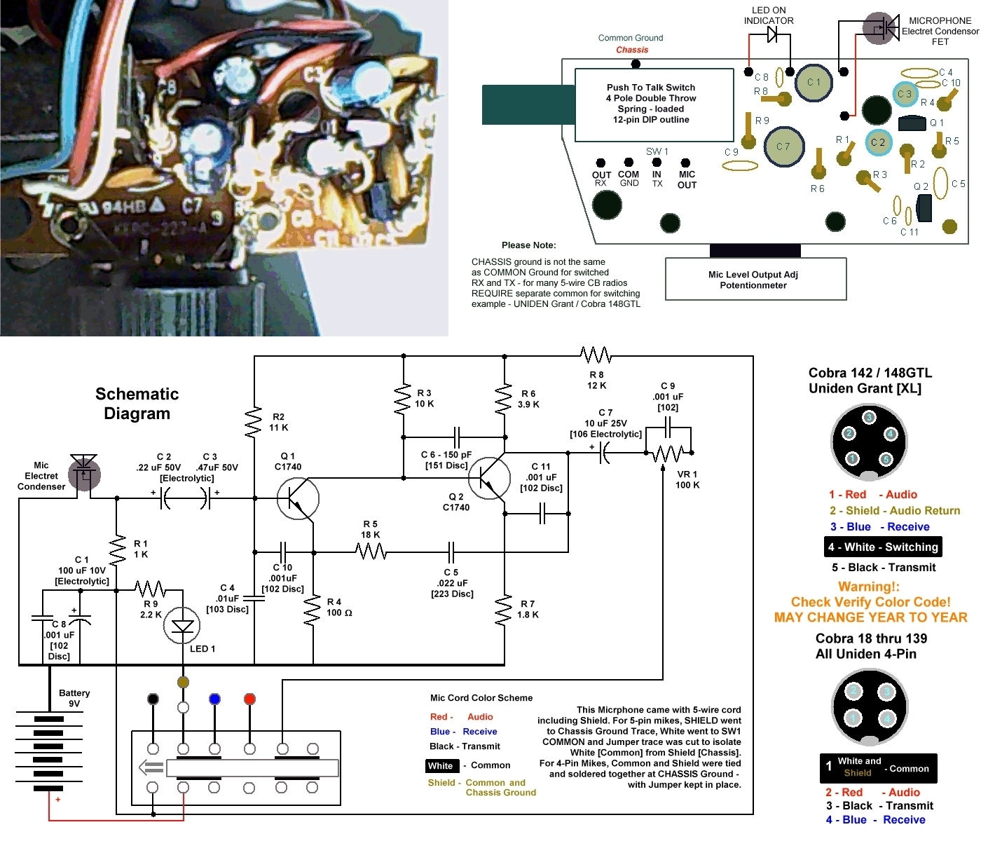 Schematic and parts layout ca 75 cobra power mike and related power microphones astatic cb mic wiring diagram at webbmarketing.co