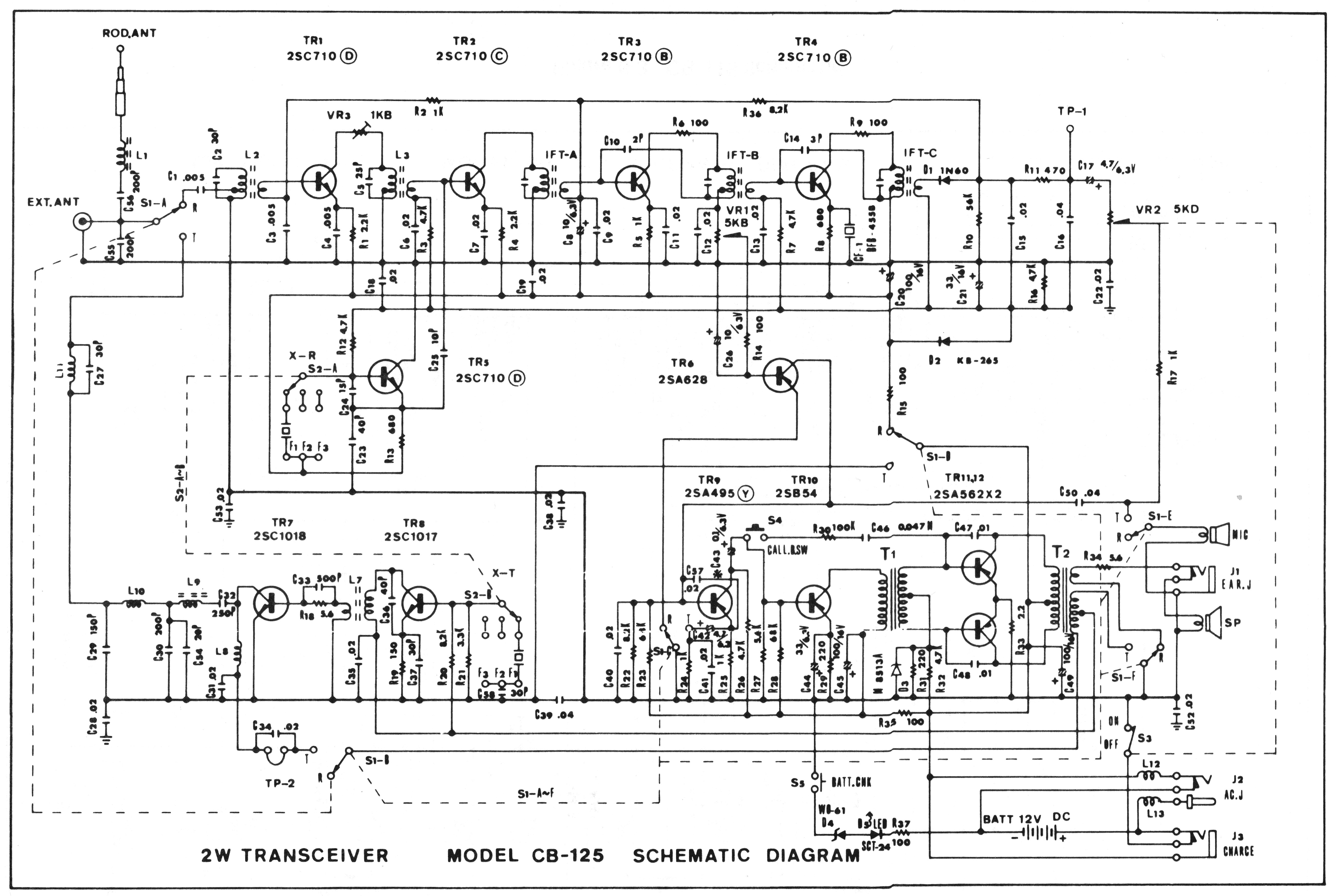 Cb Radio Diagram Wiring Schematics Cb125 Pace Communications Corp 125 Install